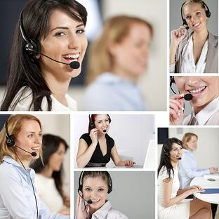 Compilation of beautiful young woman wearing telephone headsets in a busy office